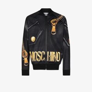 Moschino Mens Black Logo And Zip Print Bomber Jacket
