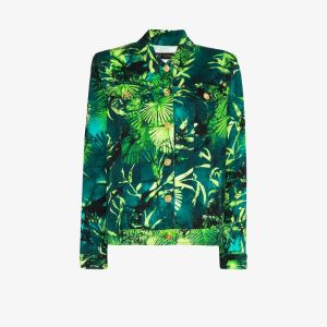 Versace Womens Green Jungle Print Denim Jacket