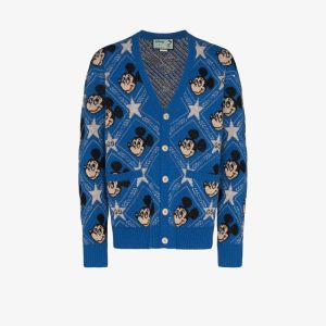 Gucci Mens Blue X Disney Mickey Mouse Gg Monogram Cardigan