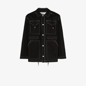 Ami Mens Black Stitching Details Short Parka