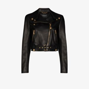 Versace Womens Black Cropped Leather Biker Jacket