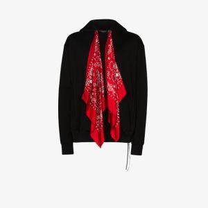 Mastermind Japan Mens Black Bandana Tie Cotton Hoodie