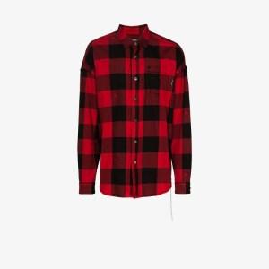 Mastermind Japan Mens Red Skull Check Cotton Shirt