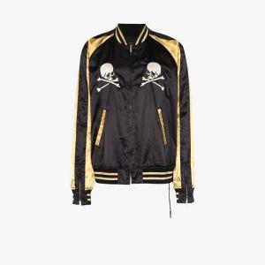 Mastermind Japan Mens Black Skull Embroidered Two Tone Bomber Jacket