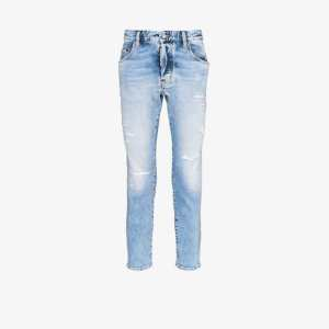 Dsquared2 Mens Blue Distressed Skinny-fit Jeans