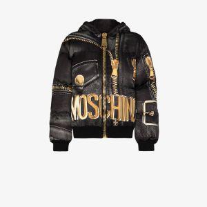 Moschino Womens Black Marco Biker-print Puffer Jacket