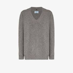 Prada Womens Grey Cashmere Wool Sweater
