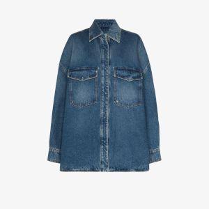 The Attico Womens Blue Oversized Stonewashed Denim Shirt