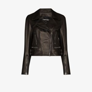 Tom Ford Womens Black Leather Biker Jacket