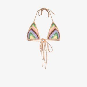 Frankies Bikinis Womens Blue Nirvana Crochet Triangle Bikini Top