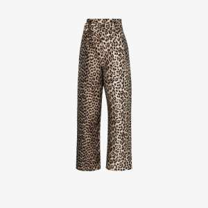 Ganni Womens Black Leopard Jacquard Trousers