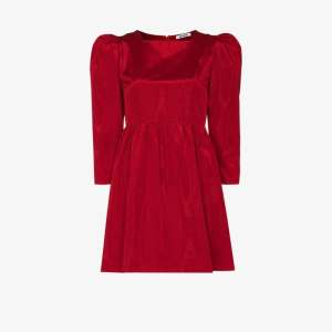Batsheva Womens Bat Sq Neck L/s Puff Plv Mini Dress Red