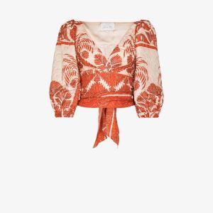 Johanna Ortiz Womens Red Astral Transit Printed Blouse