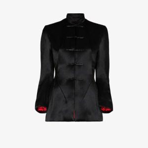 Samuel Guì Yang Womens Black High Neck Satin Jacket