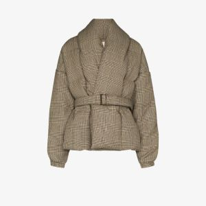 Alexandre Vauthier Womens Brown Prince Of Wales Puffer Coat