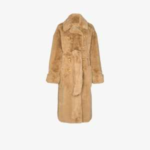 Alexandre Vauthier Womens Neutrals Belted Faux Fur Coat