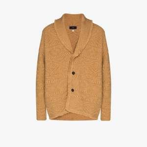 Alanui Mens Brown Fisherman Geometric Knit Cardigan
