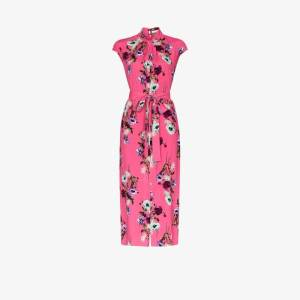 Erdem Womens Pink Finn Floral Print Silk Midi Dress