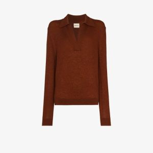 Khaite Womens Brown Jo Cashmere Knit Polo Sweater