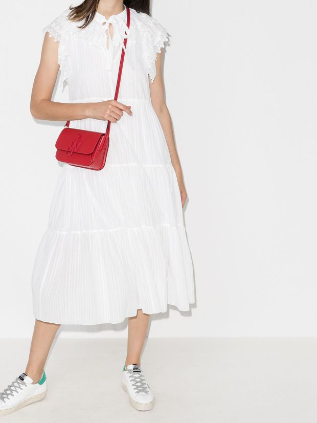 Image 2 of See by Chloé cap-sleeve tiered cotton midi dress