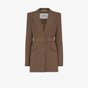 Nanushka Womens Brown Honor Belted Blazer Jacket