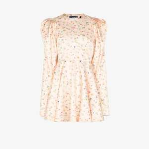 Rotate Womens Neutrals Pauline Floral Print Mini Dress