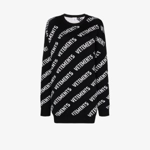 Vetements Womens Black All-over Logo Knitted Sweater