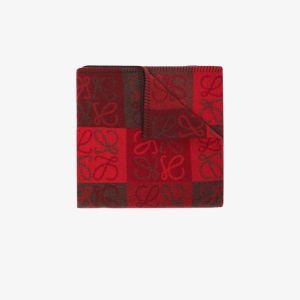 Loewe Womens Red Anagram Jacquard Scarf