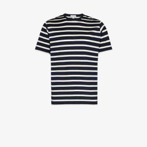 Sunspel Mens Blue Breton Stripe T-shirt