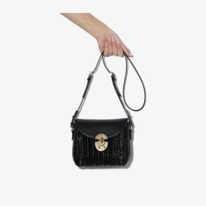 Miu Miu Womens Black Wicker Woven Shoulder Bag