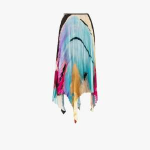 Marques'almeida Womens Blue Printed Pleated Skirt