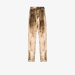 Sulvam Mens Neutrals Straight Leg Velour Trousers