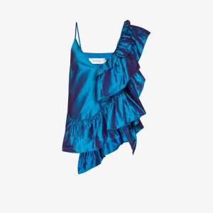 Marques'almeida Womens Blue Ruffled Metallic Camisole