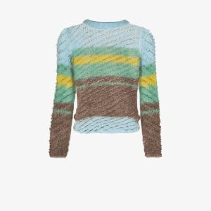 Y/project Womens Blue Striped Knitted Sweater