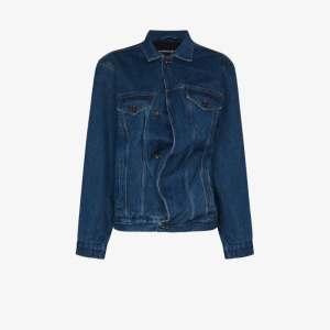 Y/project Womens Blue Oversized Asymmetric-fastening Denim Jacket