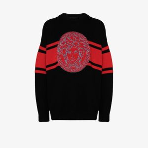 Versace Mens Black Medusa Intarsia Wool Sweater