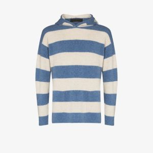 The Elder Statesman Mens Blue Tes Hooded Cashmere Sweater