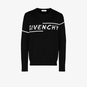 Givenchy Mens Black Split Logo Wool Sweater