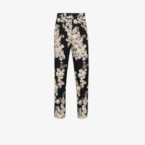 Etro Womens Blue Floral Print Straight Leg Trousers