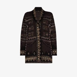 Etro Womens Purple Jacquard Knit Cardigan