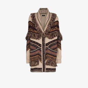 Etro Womens Brown Fringe Wool Cardigan
