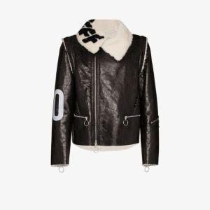 Off-white Mens Black Target Shearling Zip Jacket