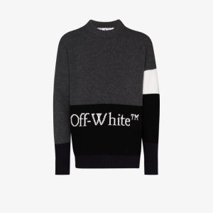 Off-white Mens Grey Colour Block Wool Sweater