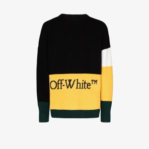 Off-white Mens Color Block Off Crewneck Black Yellow