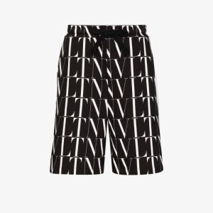 Valentino Mens Black Logo-print Track Shorts
