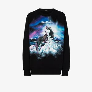 Balmain Mens Black Husky Print Sweatshirt