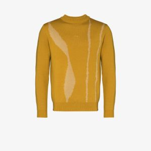 A-cold-wall* Mens Yellow Terrain Jacquard Wool Sweater
