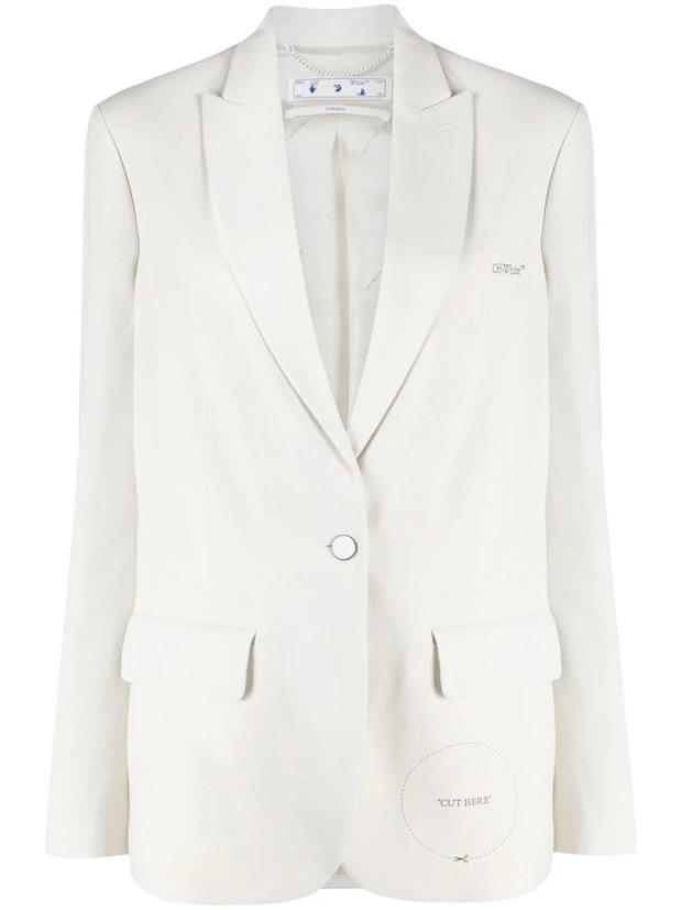 "Image 1 of Off-White ""Cut Here"" peak-lapel blazer"