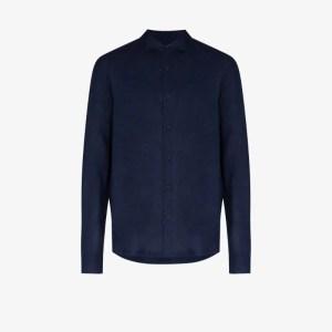Orlebar Brown Mens Blue Giles Linen Long Sleeve Shirt