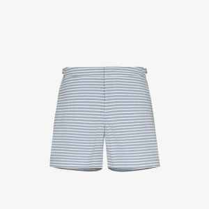 Orlebar Brown Mens White Bulldog Striped Swim Shorts
